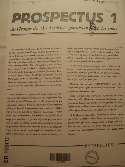 1953 Prospectus numéro 1
