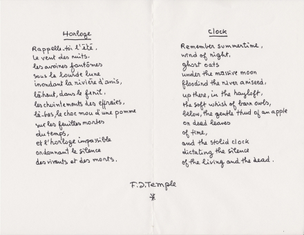 Version bilingue du poème Horloge manuscrit 1991